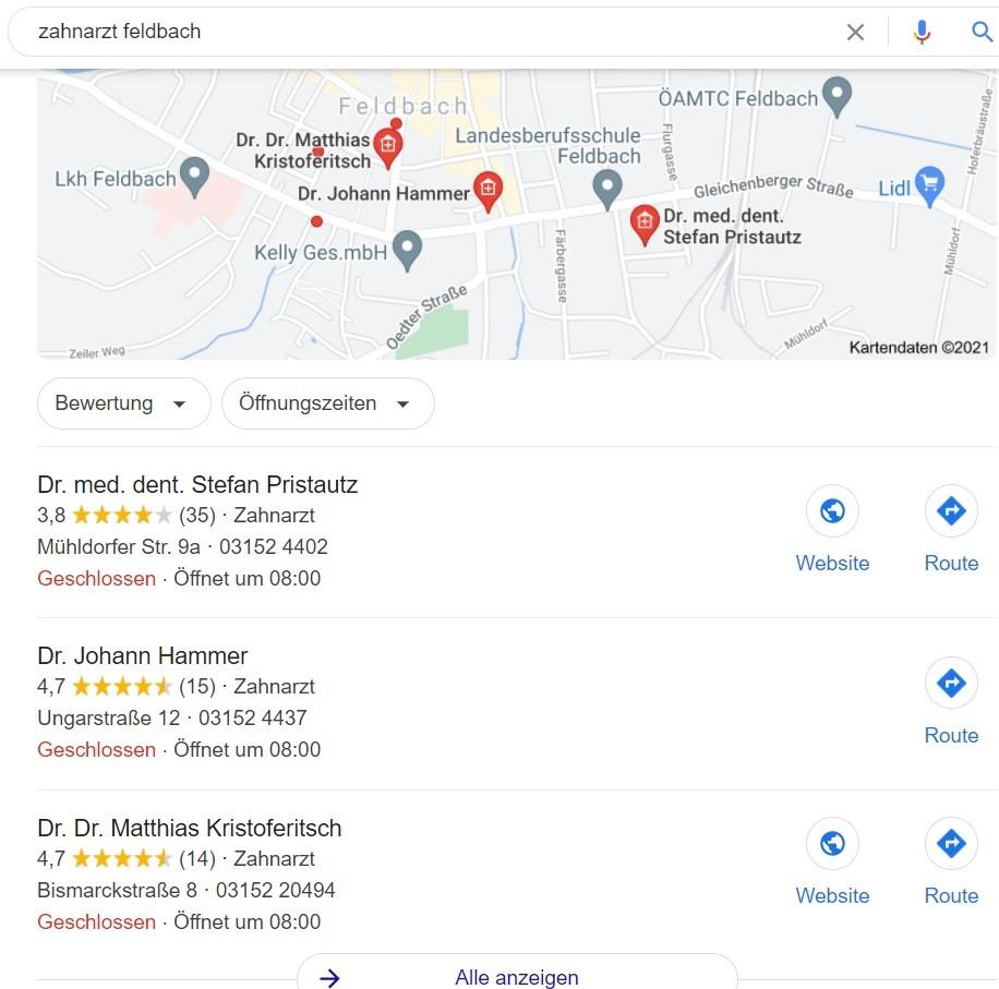 Google Snack Pack - lokale Suchmaschinenoptimierung Irrtümer